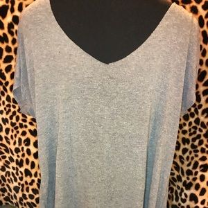 Bke heathered grey gray v neck top Nwot medium